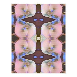 Brandamente rosa com acentos da pervinca de Brown Papel Timbrado
