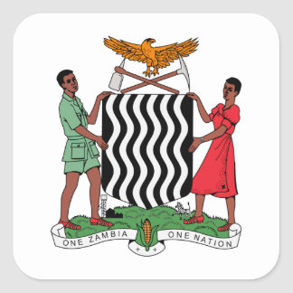 Brasão da Zâmbia Adesivo Em Forma Quadrada