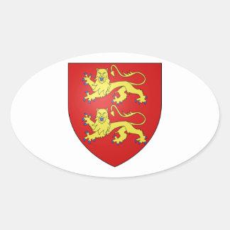 Brasão de Normandy (France) Adesivos Oval