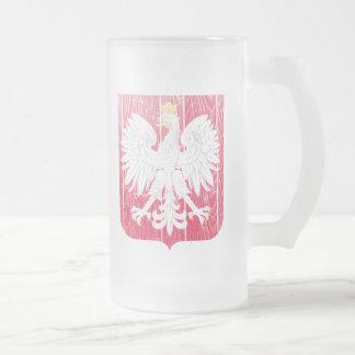 Brasão do Polônia Caneca De Cerveja Vidro Jateado