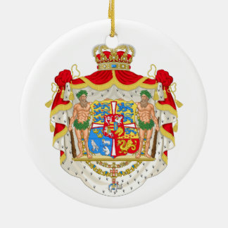 Brasão real dinamarquesa do vintage de Dinamarca Ornamento De Cerâmica Redondo