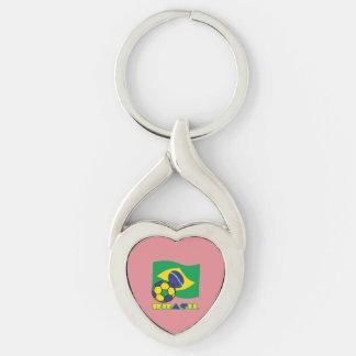 Brasileiro Futebol e Bandeira Chaveiro Coração Torcido Cor Prata