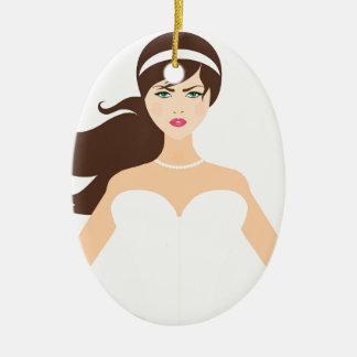 bride-1635 ornamento de cerâmica oval
