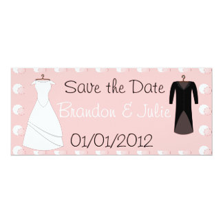 "Bride and Groom clothes save the date Convite 10.16"" X 23.49cm"