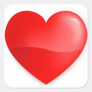 Brilhante do vermelho de Coração Adesivos Quadrados