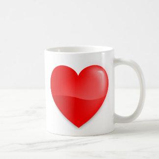 Brilhante do vermelho de Coração Caneca