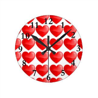 Brilhante do vermelho de Coração Relógio Para Parede