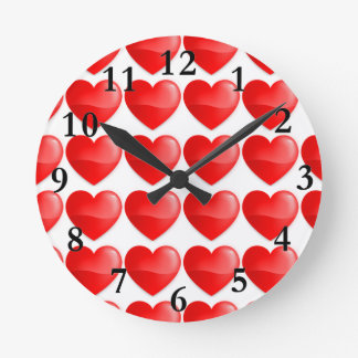 Brilhante do vermelho de Coração Relógio Redondo