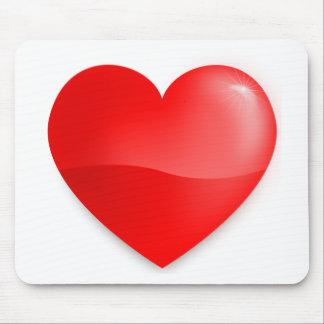 Brilhante do vermelho de Coração Mouse Pad