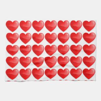 Brilhante do vermelho de Coração Panos De Prato