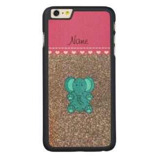 Brilho conhecido da prata do elefante de turquesa capa para iPhone 6 plus de carvalho, carved®
