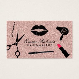 Brilho cor-de-rosa do ouro do cabeleireiro da cartão de visitas
