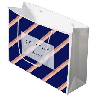brilho cor-de-rosa do ouro do falso e teste padrão sacola para presentes grande