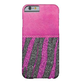 Brilho de couro cor-de-rosa feminino do teste capa barely there para iPhone 6
