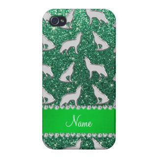 Brilho de prata conhecido personalizado do verde iPhone 4 capas