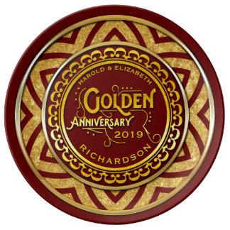 Brilho do ouro do aniversário de casamento dourado pratos de porcelana