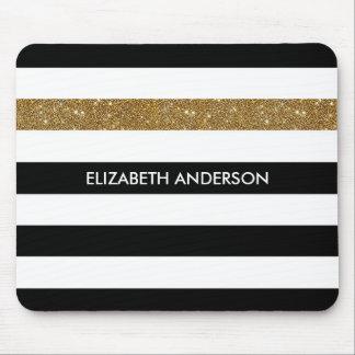 Brilho e nome pretos modernos do ouro das listras mouse pad