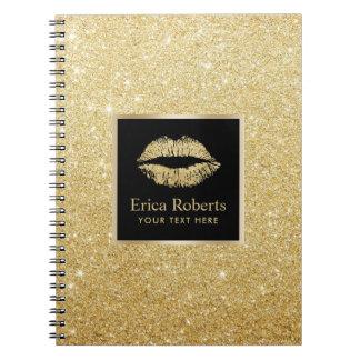 Brilho moderno do ouro do falso dos lábios do ouro cadernos espirais