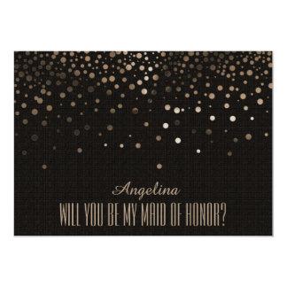 Brilho preto você será minha MADRINHA DE CASAMENTO Convite 12.7 X 17.78cm