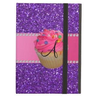 Brilho roxo do cupcake cor-de-rosa do monograma
