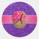 Brilho roxo do cupcake cor-de-rosa do monograma adesivos redondos