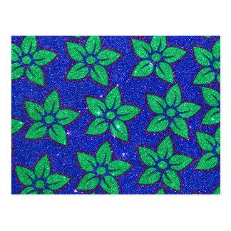 Brilho roxo e azul verde floral cartão postal