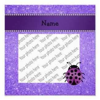 Brilho roxo personalizado do joaninha roxo conheci impressão de fotos