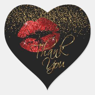 Brilho vermelho elegante Lipcolor - obrigado Adesivo Coração