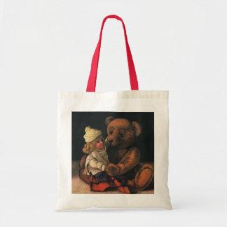 Brinquedos do natal vintage, boneca e um urso de bolsa tote