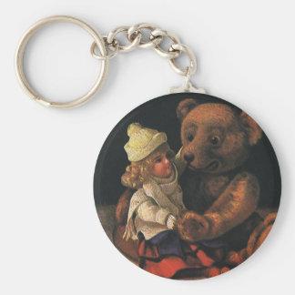 Brinquedos do natal vintage, boneca e um urso de chaveiro