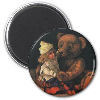 Brinquedos do natal vintage, boneca e um urso de ímã redondo 5.08cm