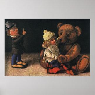 Brinquedos do natal vintage, boneca e um urso de pôster