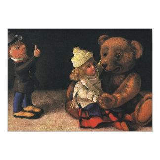 Brinquedos do natal vintage e convite do urso de