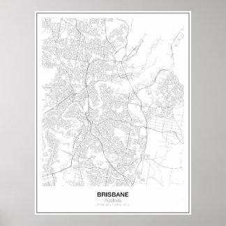 Brisbane, Austrália, poster minimalista do mapa