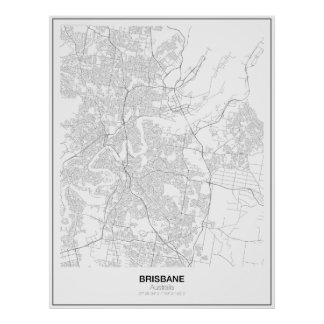Brisbane, Austrália, poster minimalista do mapa Pôster