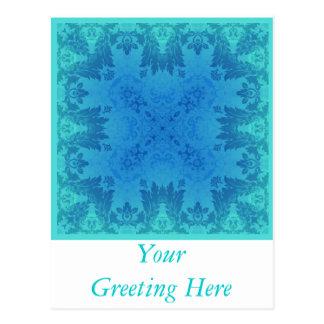 Brocado azul cartão postal