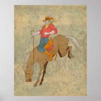 bronco bucking do cavalo da equitação do vaqueiro  posters