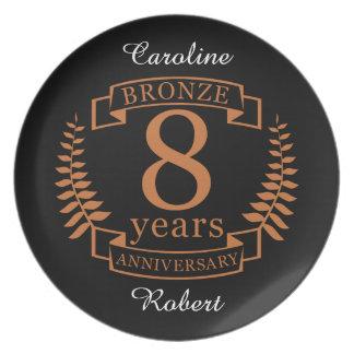 Bronzeie o oitavo aniversário de casamento 8 anos prato
