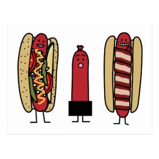 Bros do cachorro quente. Wiener envolvido bacon do Cartão Postal