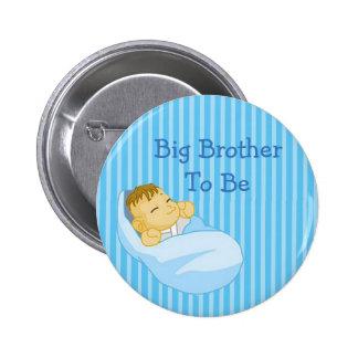BrotherTo grande azul seja botão do chá de fraldas Bóton Redondo 5.08cm