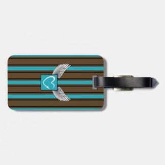 Brown/blue Kciafa logo with stripes Etiqueta De Bagagem