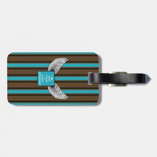 Brown/blue Kciafa retro logo with stripes Etiqueta De Bagagem