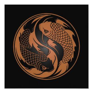 Brown e peixes pretos de Yin Yang Koi Convite Personalizados