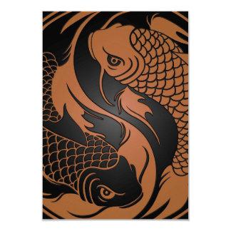 Brown e peixes pretos de Yin Yang Koi Convites Personalizado