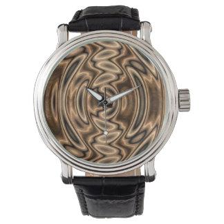 Brown e relógio dos redemoinhos do abstrato do