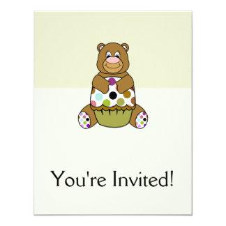 Brown e urso verde de Polkadot Convite 10.79 X 13.97cm