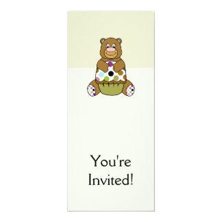 Brown e urso verde de Polkadot Convite 10.16 X 23.49cm