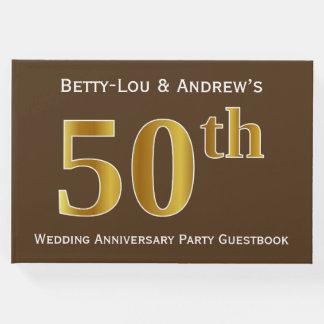 Brown, festa de aniversário do casamento do ouro livro de visitas