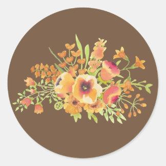 Brown floresce a etiqueta redonda clássica, adesivo