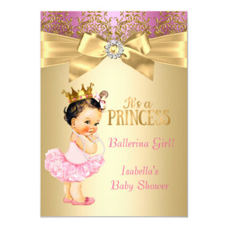 Brunette da bailarina do ouro do rosa da princesa convite 12.7 x 17.78cm